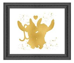 Lilo and Stitch - Ohana Means Family - Gold Print Inspired b