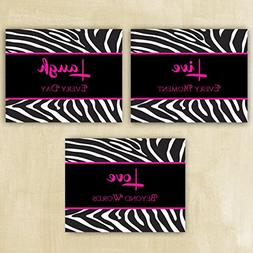 Live Laugh Love Animal Print Zebra Hot pink and Black Wall A