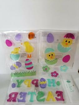 Easter Gel Clings Lot of 3 Window Decorations Happy Easter E