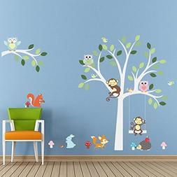 Lovely Animals Owls Monkeys Mushrooms Trees Wall Stickers Re