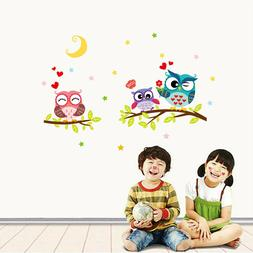Lovely Owl Cartoon Removable Wall Stickers For Kids Rooms Ho