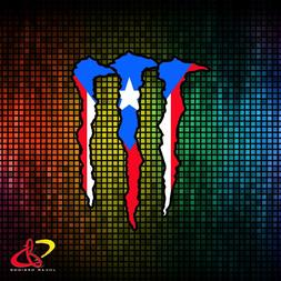 M ENERGY WITH PUERTO RICO RICAN FLAG VINYL CAR STICKER DECAL