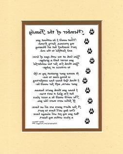 Member of the Family Dog or Cat Poem Wall Decor Pet Dog Sayi