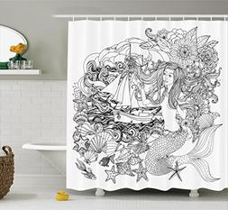 Ambesonne Mermaid Decor Collection, Mermaid with Abstract Ha