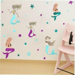 Mermaid Wall Decal Starfish and Dots Wall Sticker Nursery Be