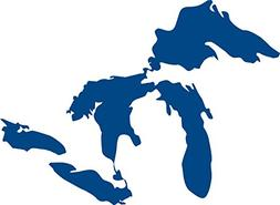 "Michigan Great Lakes 6"" DARK BLUE Vinyl Decal Sticker"