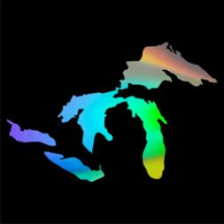 Michigan Great Lakes State Map Car Window Wall Stickers Viny