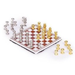 miniature metal chess set chess board chess piece scale for