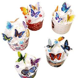 Yunko 100 Pcs Mixed Colour Butterflies Cupcake Toppers Birth