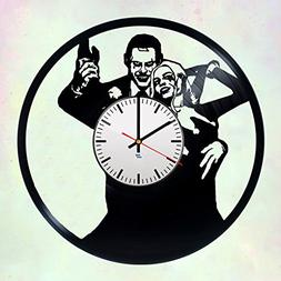 Modern Vinyl Record Wall Clock With Joker and Harley Quinn D