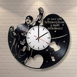 Modern Vinyl Record Wall Clock With Superman Quotes Design -