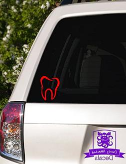 """Molar Tooth Vinyl Car Decal - 6"""" Red"""