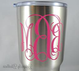Monogram Decal in Vine Font - Solid and Glitter Color Option