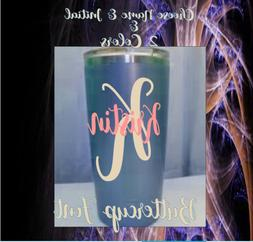 Monogram Personalized Vinyl Decal ,For Tumblers, Cups, Stick