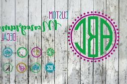 monogram vinyl decal w frame for your