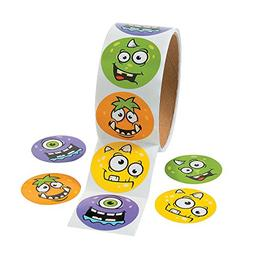 Monster Face Roll of Stickers - 100 Pcs. Per Roll