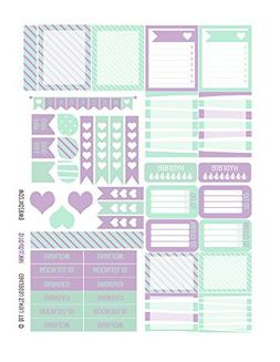 Monthly Planner Stickers Mint Lilac Heart Sampler Planner La