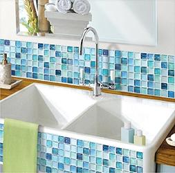 Beaustile Mosaic 3D Wall Sticker Home Decor N-Blue Fire Reta