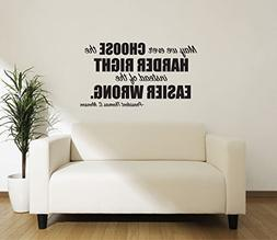 Motivational Vinyl Wall Quote Choose The Harder Right Thomas