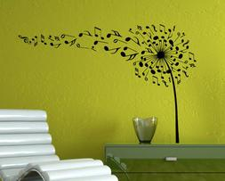 Music Dandelion Wall Decal Musical Notes Vinyl Sticker Home