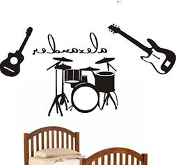 N.SunForest Music-Guitars-Drums Theme Personalized Vinyl Wal