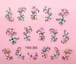 Nail Art 3D Decal Stickers Colorful Flowers with Rhinestones