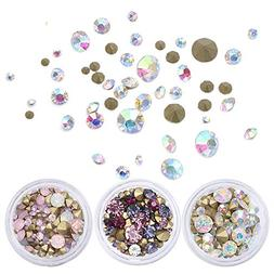 BORN PRETTY Nail Art Rhinestone AB White Crystal Sharp Botto
