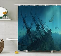 Ambesonne Nautical Decor Shower Curtain Set, Dolphins Approa