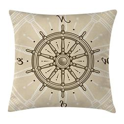 Nautical Throw Pillow Cushion Cover by Ambesonne, Retro Ship