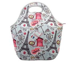 neoprene lunch tote bag dots