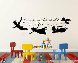 Never Grow up Peter Pan Quote Silhouette & stars Vinyl Wall