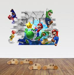 New 3D Super Mario Bros Removable HUGE Wall Stickers Decal K