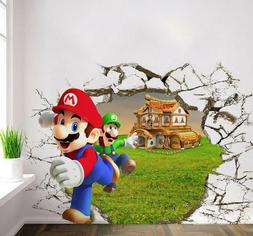 NEW 3D Super Mario Bros Removable Wall Stickers Decal Kids H