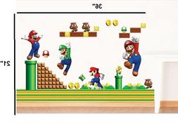 NEW Super Mario Bros Removable HUGE Wall Stickers Decal Kids