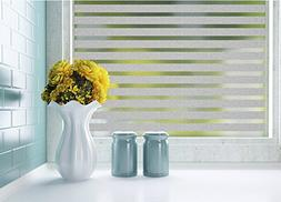 bofeifs Non-Adhesive Stripe Frosted Privacy Decorative Windo