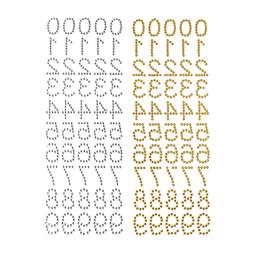 Number Rhinestone Stickers, 1-Inch, 50-Count