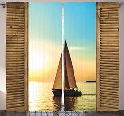 Ambesonne Ocean Curtains Decor, Sail Boat Through Wooden Win