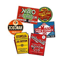 Oil Can Label Stickers Set, 6 Car & Garage Decals REPRODUCTI