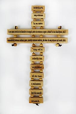 "Olive Wood Crucifix / Wall Cross adorned with the ""Our Fathe"