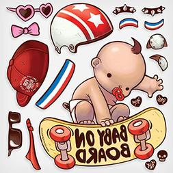 Oliver's Labels Baby on Board Decals Skater Baby Vinyl Windo