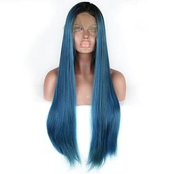 Ombre Dark Roots to Mixed Sapphire Blue Long Straight Lace F