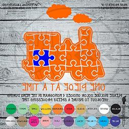 One Piece At A Time Autism Awareness Puzzle Piece Vinyl Die
