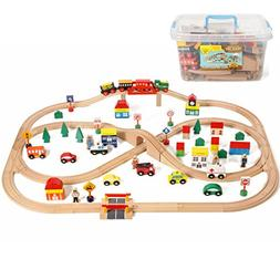 100 Piece All In One Wooden Train Set With Accessories, Come