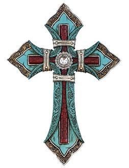 Ornate Wall Cross - Tooled Teal Leather Look - Layered with