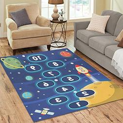 InterestPrint Outer Space Funny Kids Hopscotch Area Rug 7 x