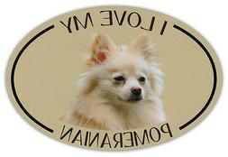 Oval Dog Breed Picture Car Magnet - I Love My Pomeranian - B