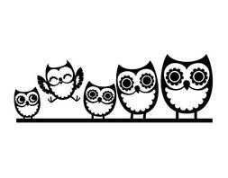 Owl Family Decal Vinyl Sticker|Cars Trucks Vans Walls Laptop
