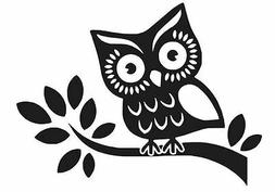 OWL ON A BRANCH DECAL WINDOW CAR LAPTOP STICKER CHOOSE COLOR
