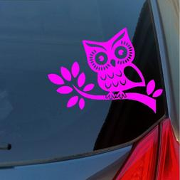 Owl on a branch vinyl sticker decal car truck SUV wall hoot