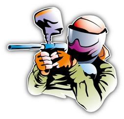 Paintball Player Car Bumper Sticker Decal - 3'' or 5''